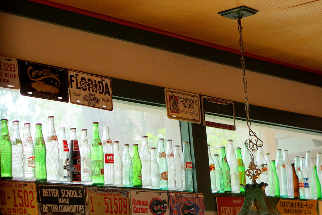 Picture of old soda bottles in Micanopy, Florida antique shop
