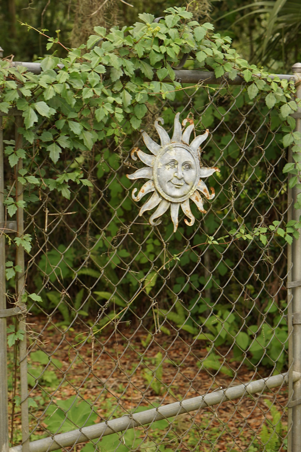 Picture of a metal sun ornament in Micanopy, Florida