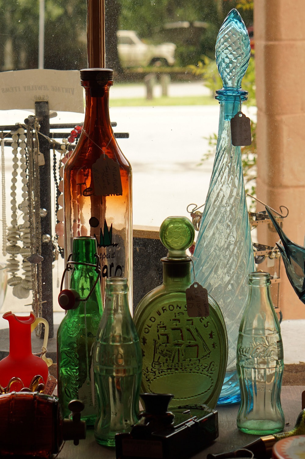 Picture of glass bottles in an antique shop in Micanopy, Florida
